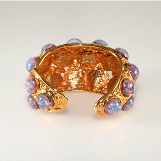 Kenneth Jay Lane K.J.L. Bracelet Hinged Cuff Faux Opals For Sale - Image 4 of 6