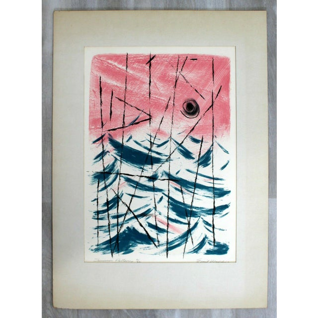 """Mid 20th Century Mid Century Modern """"Summer Patterns"""" by Emil Weddige Unframed Lithograph For Sale - Image 5 of 5"""