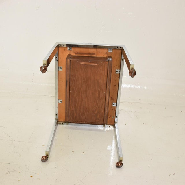 Silver Scandinavian Danish Modern Side Table in Rosewood and Chrome For Sale - Image 8 of 9