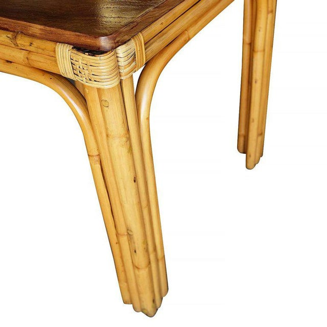 Mid-Century Four Person Rattan and Mahogany Dining Table - Image 5 of 6