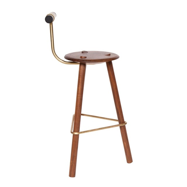 Walnut Tripod Stool with lacquered Backrest and satin brass supports. Designed by Ben Erickson for Erickson Aesthetics....