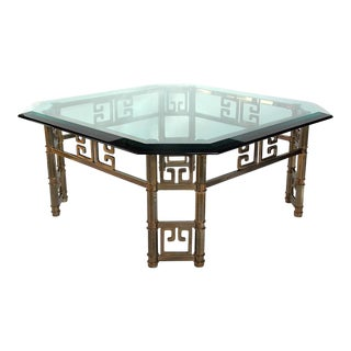 Mastercraft Brass and Glass Coffee Table For Sale