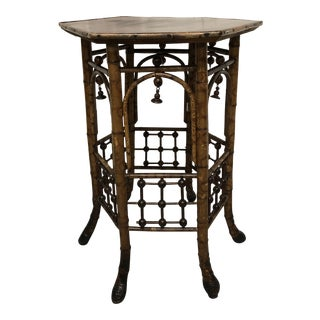 Bamboo Chinoiserie Style Hexagon Table For Sale