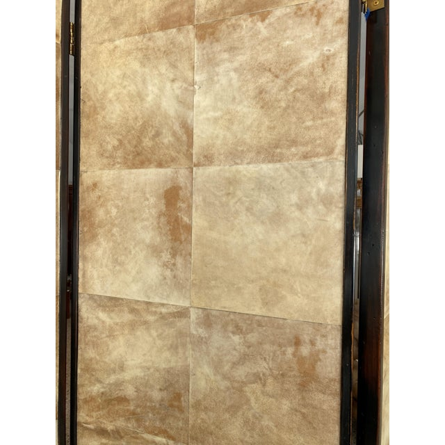 Jean Michel Frank Adolphe Chanaux Vintage Jean Michel Frank Style Parchment Room Divider Screen For Sale - Image 4 of 11