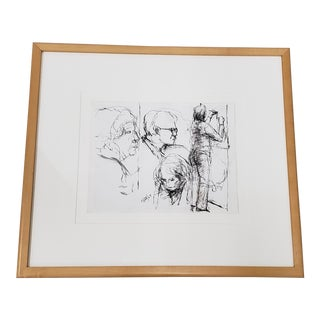 """Elmer Nelson Bischoff (1916-1991) """"Three Heads, Two Women"""" Original Pen & Ink Drawing C.1969 For Sale"""