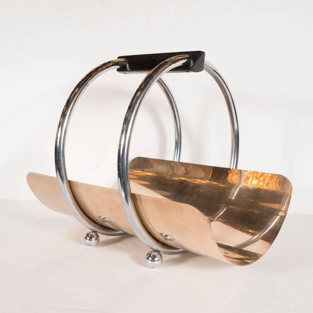 Art Deco American Art Deco Machine Age Log Holder in Chrome and Copper by Leslie Beaton For Sale - Image 3 of 11