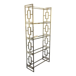 Contemporary Vanguard Nickel and Glass Etagere