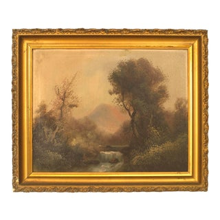 English Victorian Landscape of a Waterfall For Sale
