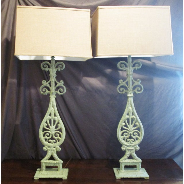 Green Cast Iron Table Lamps - A Pair - Image 2 of 5