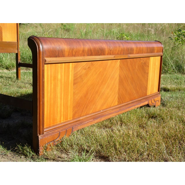 Brown Vintage Art Deco Walnut Full Double Waterfall Bed For Sale - Image 8 of 12
