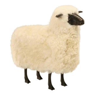 Sheep in Bronze with Real Fur and Dark Patina For Sale