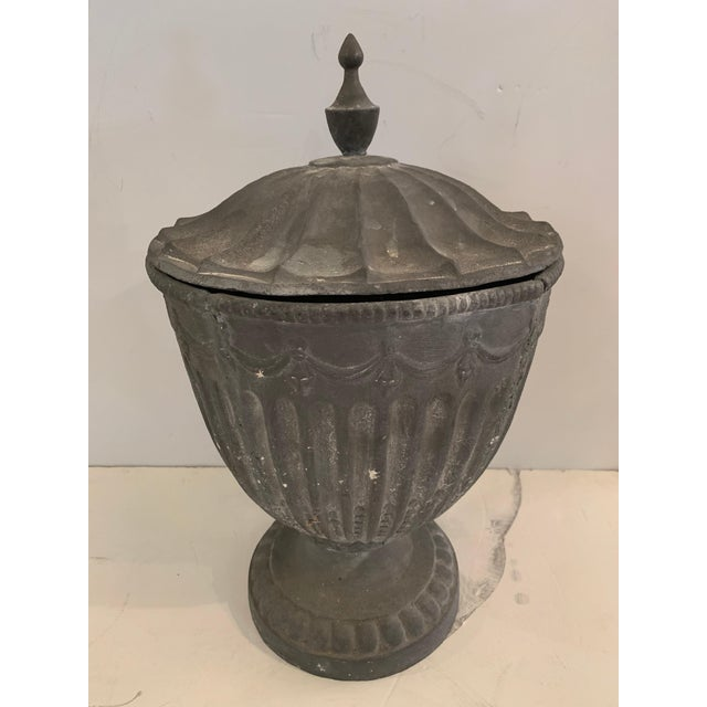 Gray Regency Style Lidded Cast Iron Garden Urns Planters For Sale - Image 8 of 13