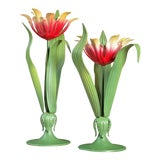 Image of Vintage Petites Choses Usa Flower Candleholders- a Pair For Sale
