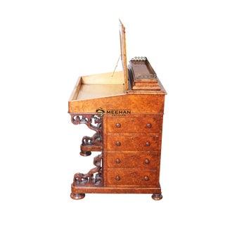 1860s English Victorian Burl Walnut Davenport Desk For Sale