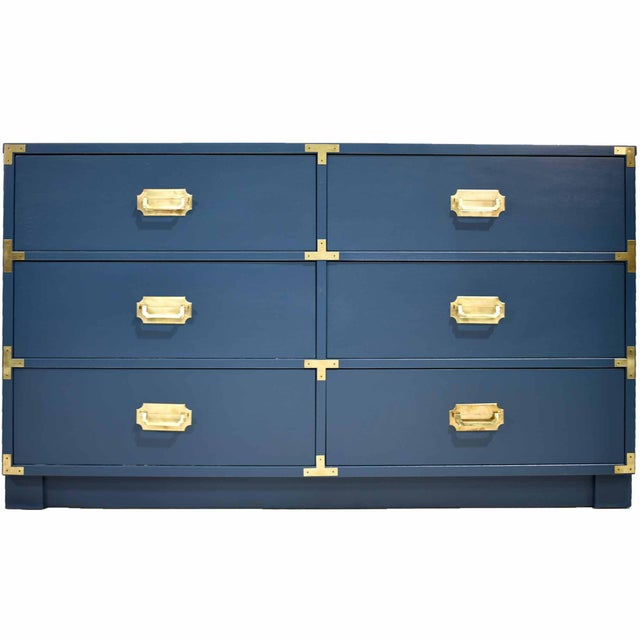 Transform your room with this handsome, newly painted campaign-style dresser or chest. It features six drawers and shiny...