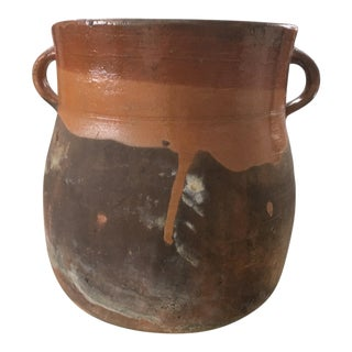 Vintage French Mid Century Primitive Red Clay Pot Vessel Pottery For Sale