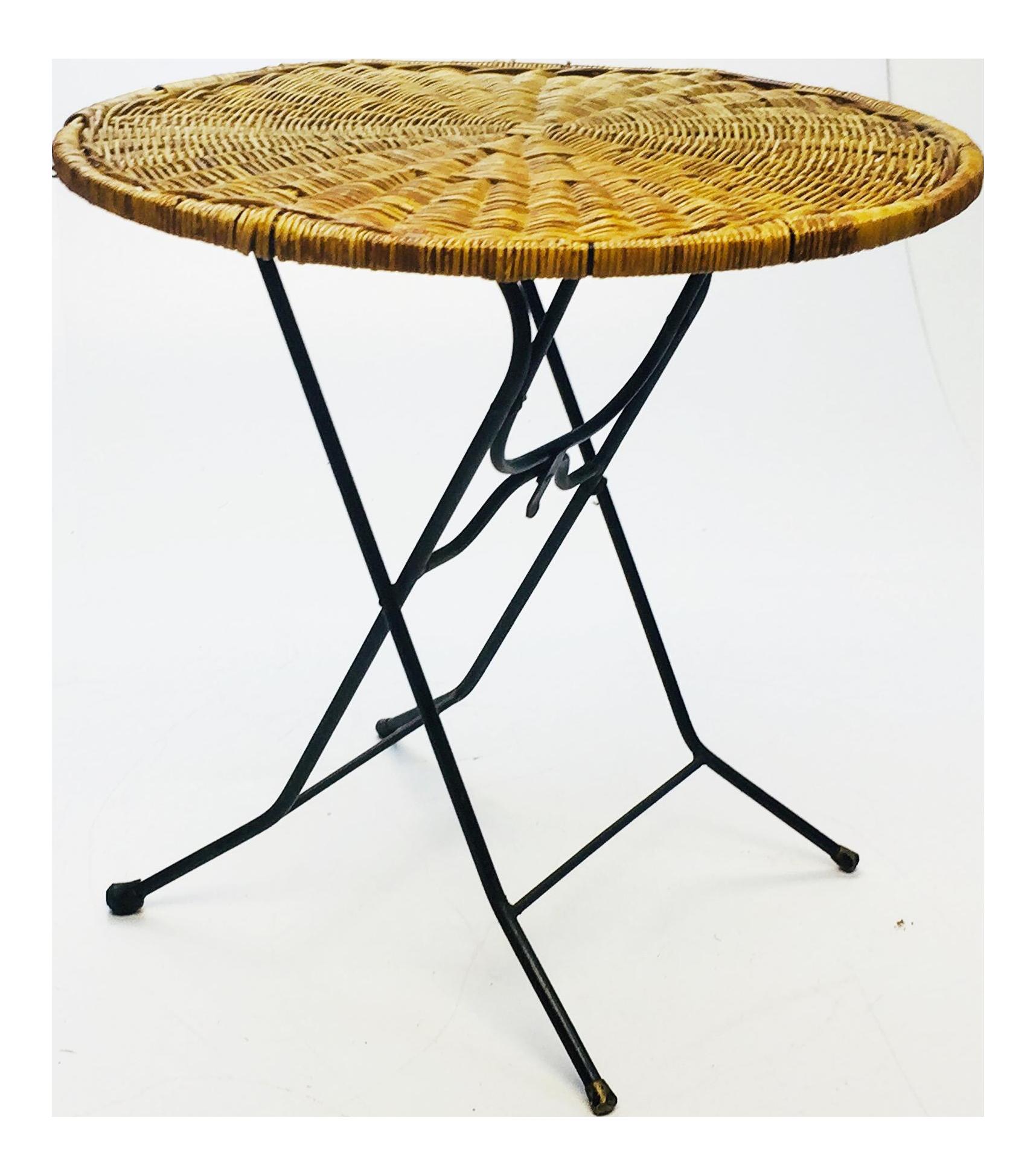 Mid Century Modern Wicker Iron Round Folding Side Table Chairish