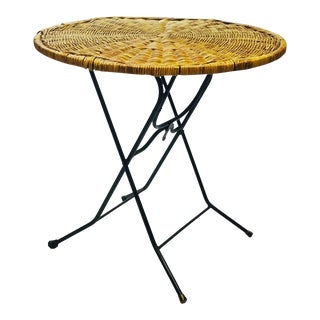 Mid Century Modern Wicker & Iron Round Folding Side Table