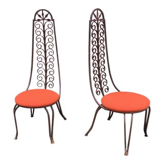 Salterini Style Highback Iron Chairs - a Pair For Sale
