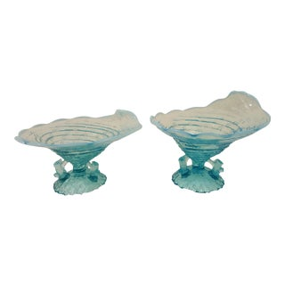 Northwood Blue Opalescent Ocean Shell Whimsey , A Pair For Sale