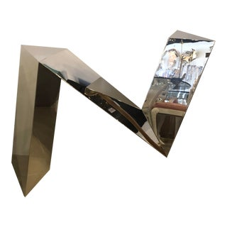 Vintage Modern Polished Stainless Steel Zig Zag Geometric Console Table For Sale