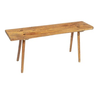 Mid 19th Century Primitive Hand Carved Stick Bench For Sale