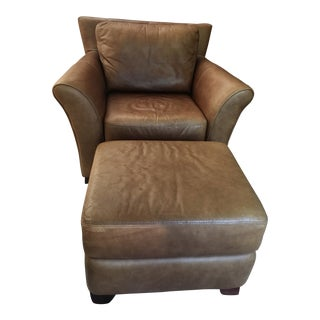 Contemporary Brown Leather Club Chair With Ottoman For Sale