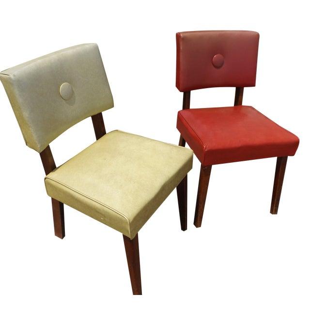 Retro Mid-Century Vinyl Accent Chairs - A Pair - Image 1 of 11