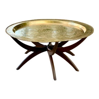 1950s Vintage Chinese Imports Polished Brass Spider Leg Tray Table For Sale