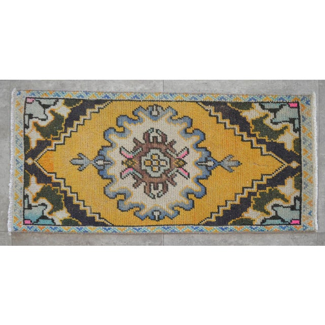 Distressed Low Pile Yastik Rug Faded Small Rug Bath Mat- 18'' X 38'' For Sale - Image 4 of 4