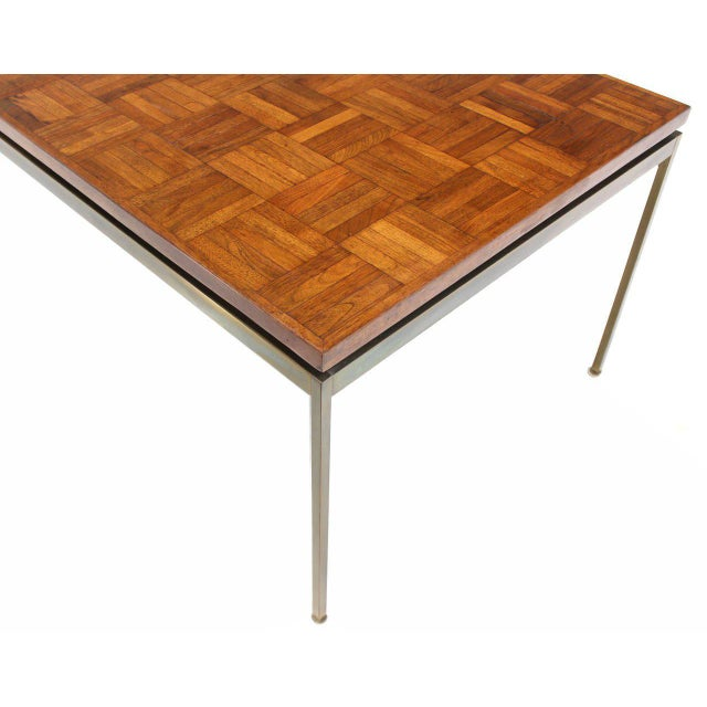 Large Brass Rectangle Base Parquet Top Coffee Table For Sale In New York - Image 6 of 6