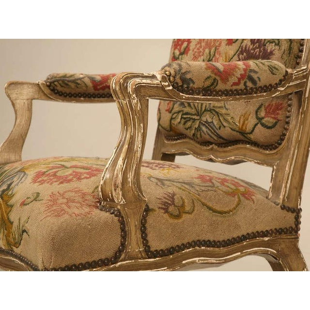 Original Paint Antique Italian Armchairs with Needlepoint - a pair For Sale - Image 10 of 10