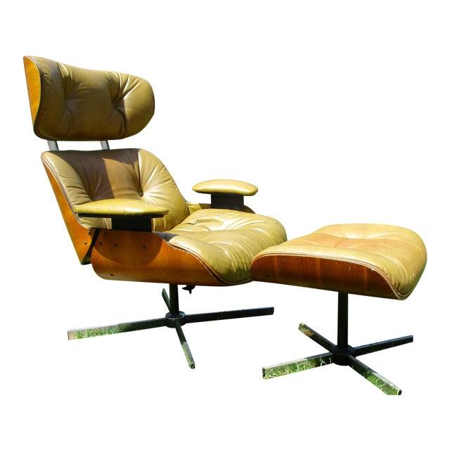 Frank Doerner Mid Century Modern Chair Ottoman Set Selig Plycraft Style