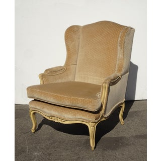 Vintage French Provincial Gold Polka Dotted Velvet Accent Wingback Chair Preview