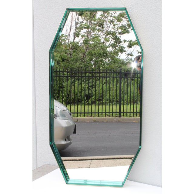 Mid-Century Modern Fontana Arte Green Glass and Brass Octagonal Mirror For Sale - Image 3 of 11