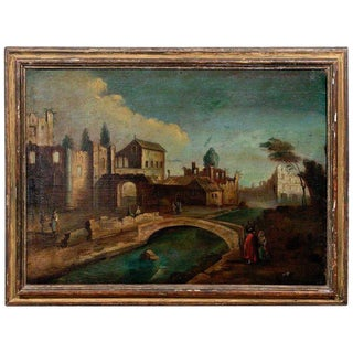 18th Century Italian School Old Master Landscape, City View For Sale