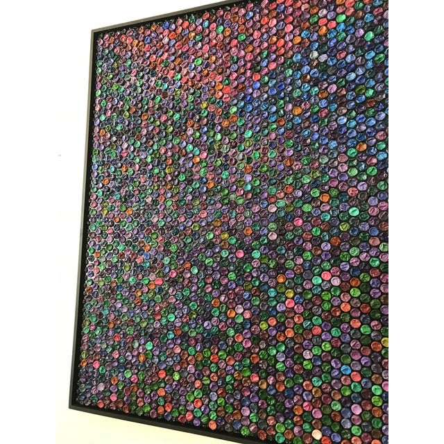 Beautiful large and framed collage created with bubble wrap and oil on canvas by Garcia Mar in Argentina. This painting is...