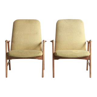 Vintage Mid Century Alf Svensson Highback Lounge Chairs- A Pair For Sale