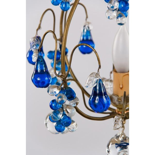 Brass Vintage Blue Murano Chandelier For Sale - Image 7 of 10