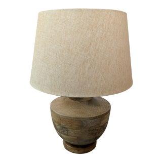 Coastal Organic Modern Acacia Wood Carved Table Lamp - Burmese Style For Sale
