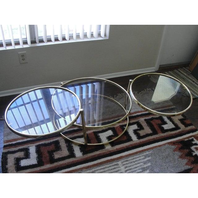 DIA - Design Institute America Milo Baughman Smoked Glass Swivel Table For Sale - Image 4 of 8