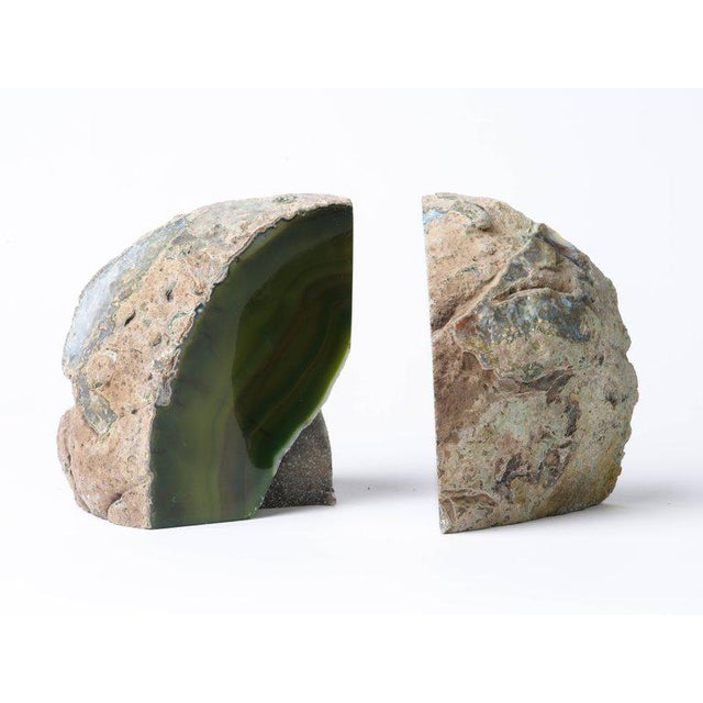 Pair of Organic Modern Agate Stone and Crystal Bookends in Moss Green For Sale - Image 9 of 11