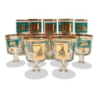"Mid-Century ""Steamboat"" 22-Karat Gold Drink Glasses - Set of 14"