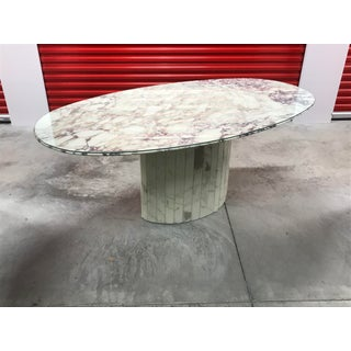 1960s Hollywood Regency Roche-Bobois White and Gray Matalic Italian Marble Dining Table Preview