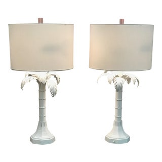 Vintage White Gloss Palm Tree Lamps With Lucite Finials - a Pair