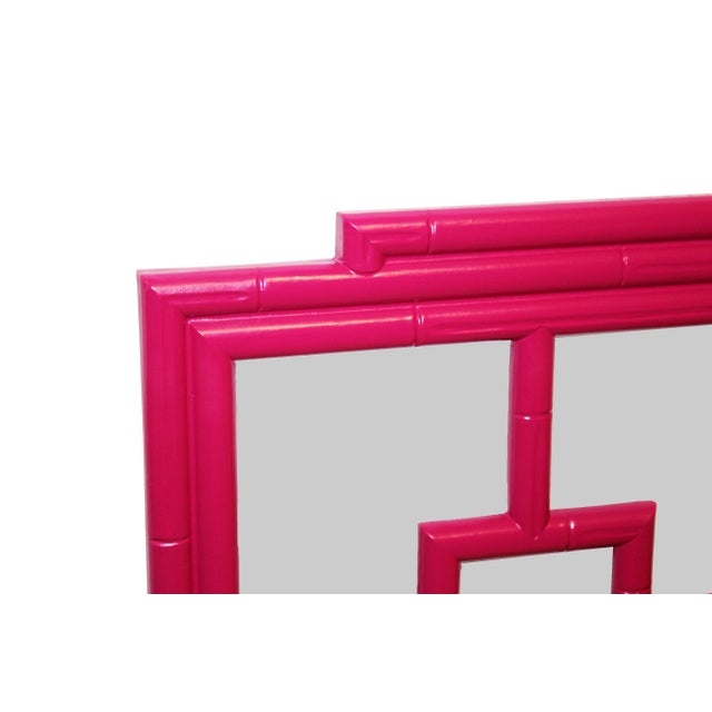 1970s Vintage Magenta Chinoiserie-Style Greek Key Fretwork & Faux-Bamboo Wall Mirror For Sale - Image 5 of 8