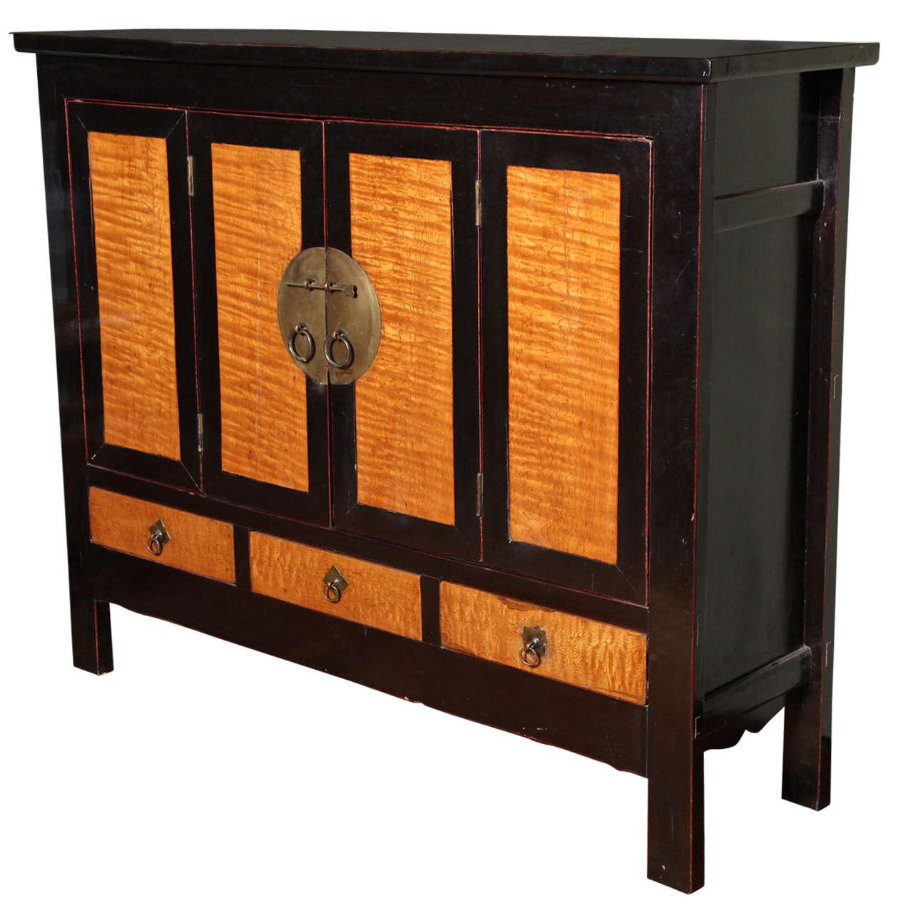 Late Qing Dynasty Black Lacquer And Burl Wood Cabinet With Accordion Doors    Image 11 Of