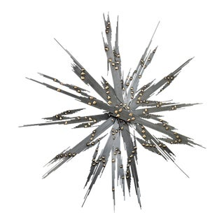 Authentic 1960 Brutalist Steel and Brass Kinetic Sunburst Wall Sculpture-Mid Century Modern Tropical Coastal Palm Beach Starburst Sunburst Curtis Jere For Sale