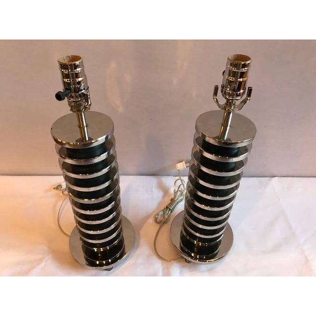 1950s Mid-Century Modern Spinal Disk from Table Lamps in Chrome - A Pair For Sale - Image 5 of 7