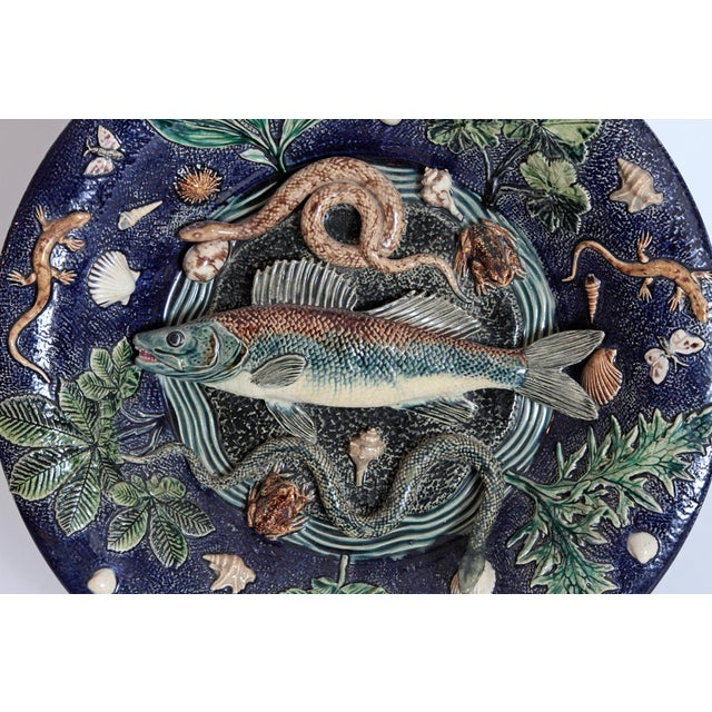 Rustic Large Palissy Charger by Victor Barbizet, Circa 1875 For Sale - Image 3 of 11